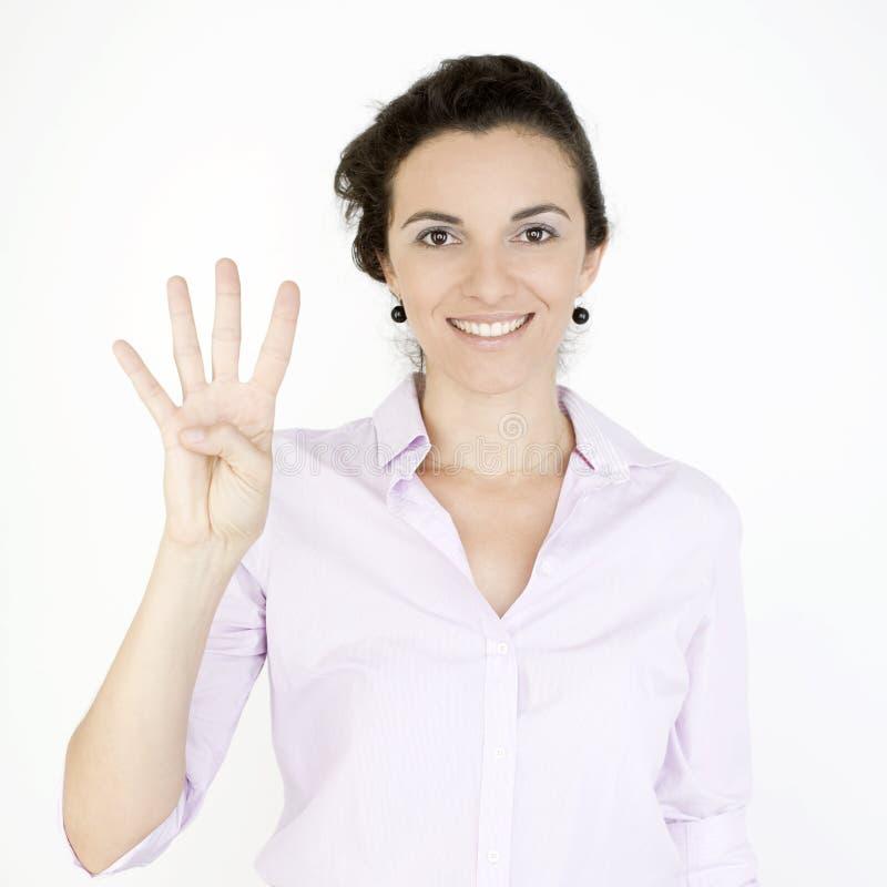 显示第四的女实业家 免版税库存图片