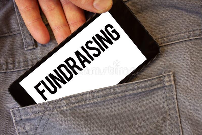 显示筹款的文字笔记 企业照片陈列的寻找财政支持慈善原因或企业人举行 免版税库存照片