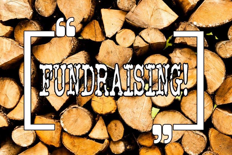 显示筹款的概念性手文字 企业照片陈列的寻找财政支持慈善原因或 库存照片