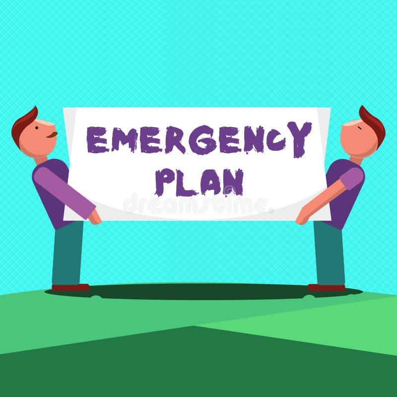 显示紧急办法的文本标志 反应的概念性照片做法对主要的紧急事件准备 皇族释放例证