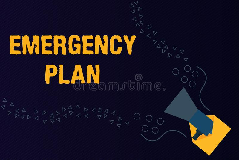 显示紧急办法的文本标志 反应的概念性照片做法对主要的紧急事件准备 库存例证