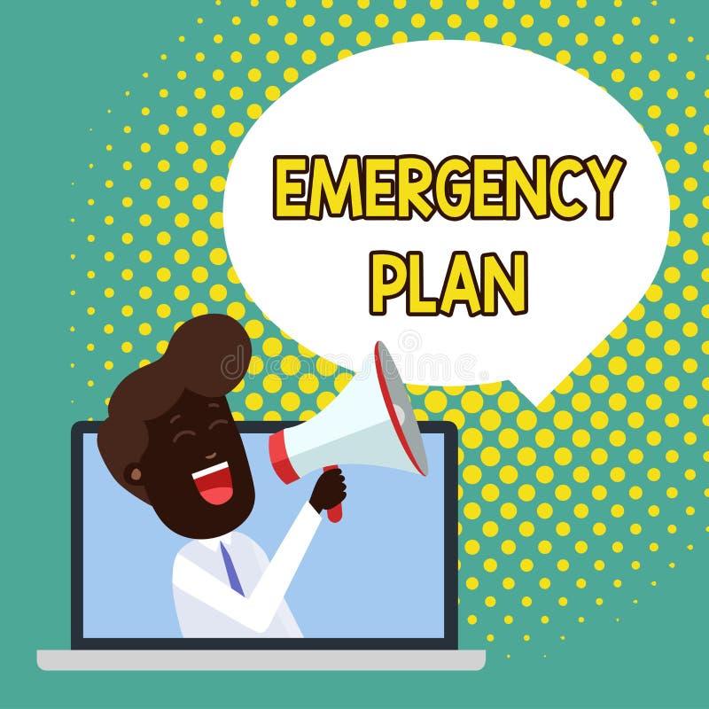 显示紧急办法的文本标志 反应的概念性照片做法对主要的紧急事件是准备的人讲话 库存例证