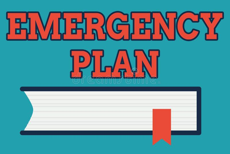 显示紧急办法的文本标志 反应的概念性照片做法对主要的紧急事件是准备的侧视图  向量例证