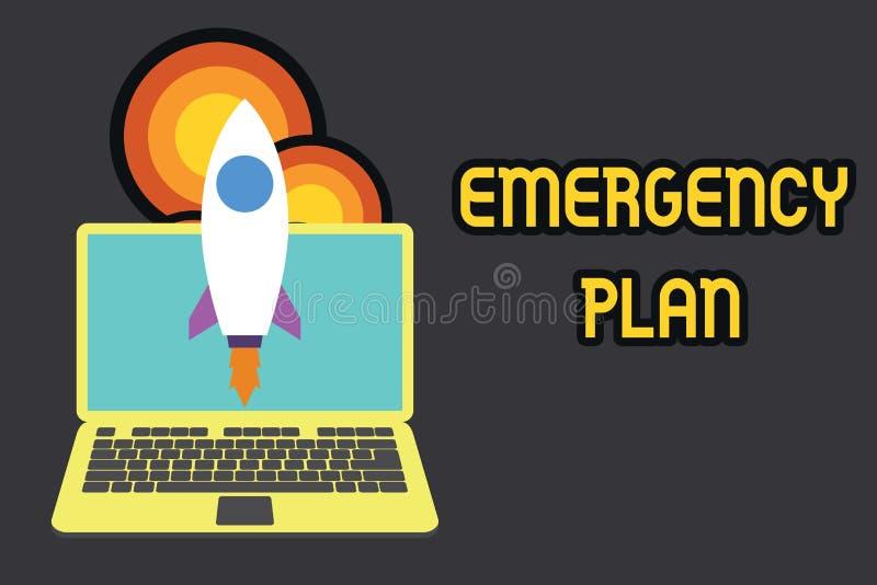 显示紧急办法的文本标志 反应的概念性照片做法对主要的紧急事件是准备的发射 皇族释放例证