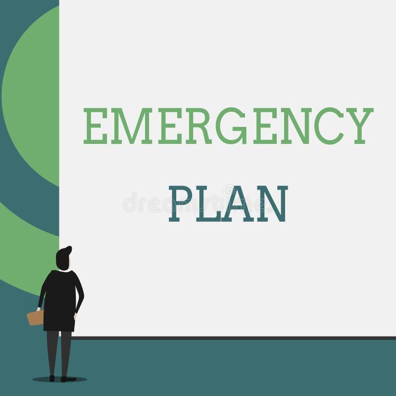 显示紧急办法的文本标志 反应的概念性照片做法对主要的紧急事件是准备的后面看法 皇族释放例证