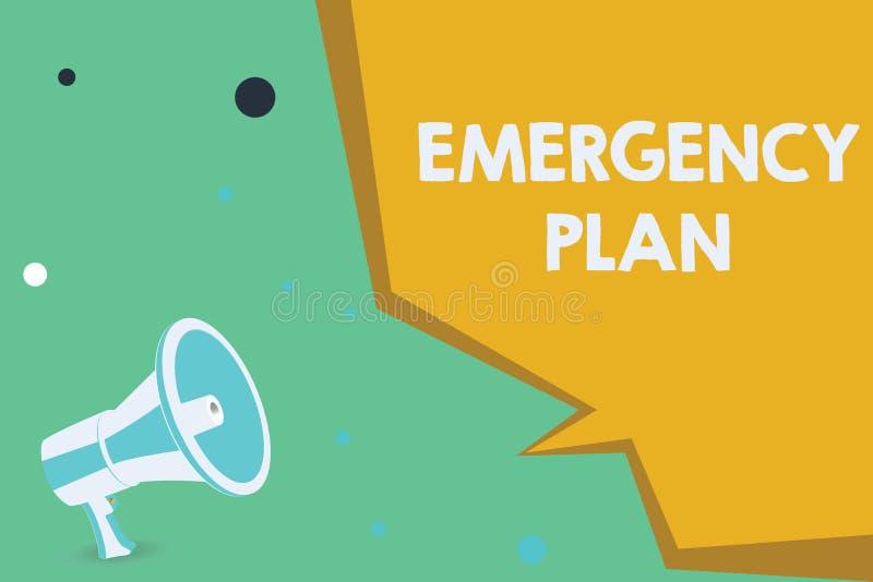 显示紧急办法的概念性手文字 反应的企业照片陈列的做法对主要的紧急事件准备 向量例证