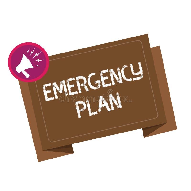 显示紧急办法的概念性手文字 反应的企业照片陈列的做法对主要的紧急事件准备 库存例证