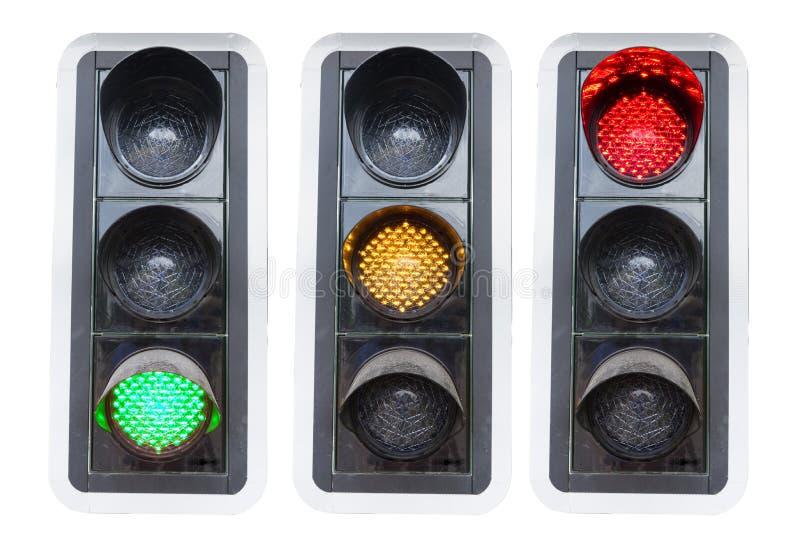 显示红色绿色和红色的红绿灯查出 免版税图库摄影