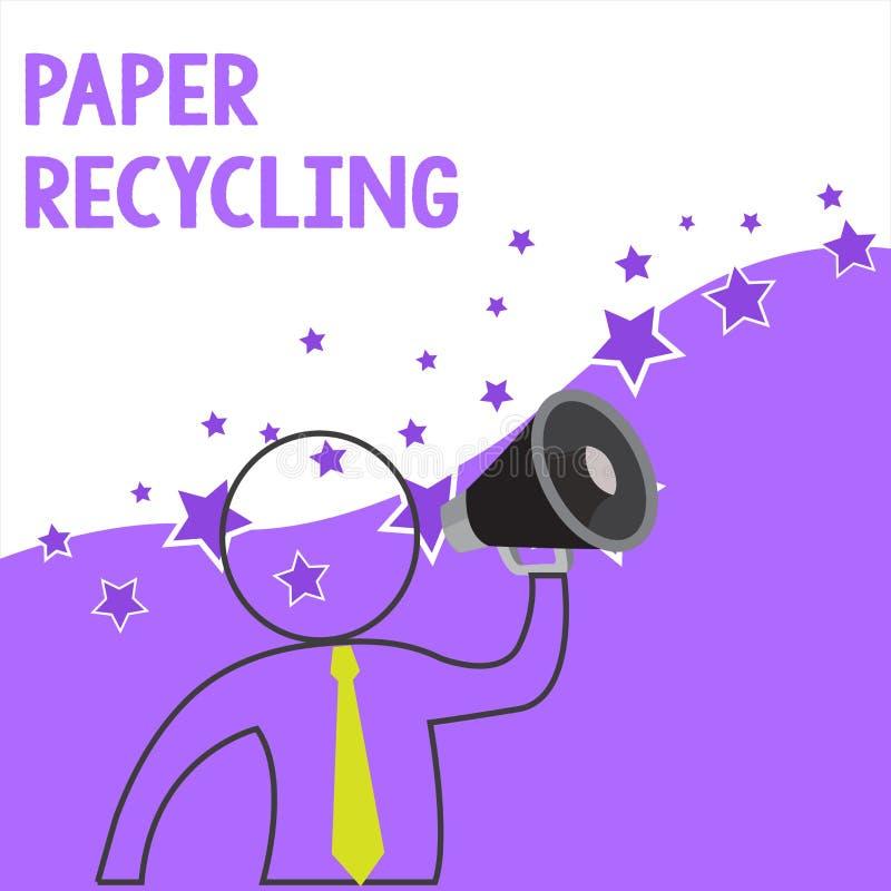 显示纸回收的文本标志 使用废纸的概念性照片用一个新的方式通过回收他们概述标志 库存例证