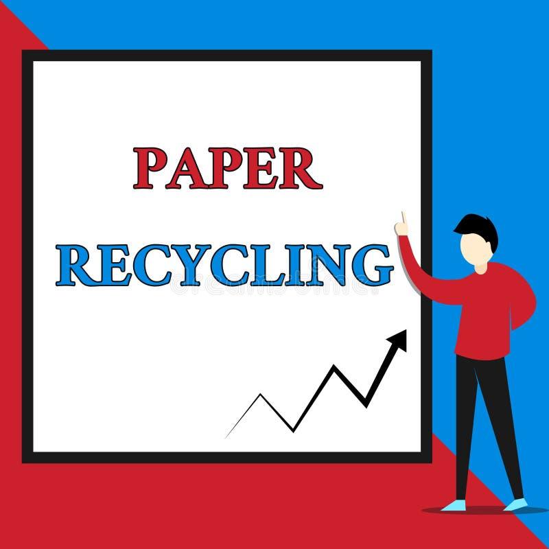 显示纸回收的文本标志 使用废纸的概念性照片用一个新的方式通过回收他们看法年轻人 库存例证