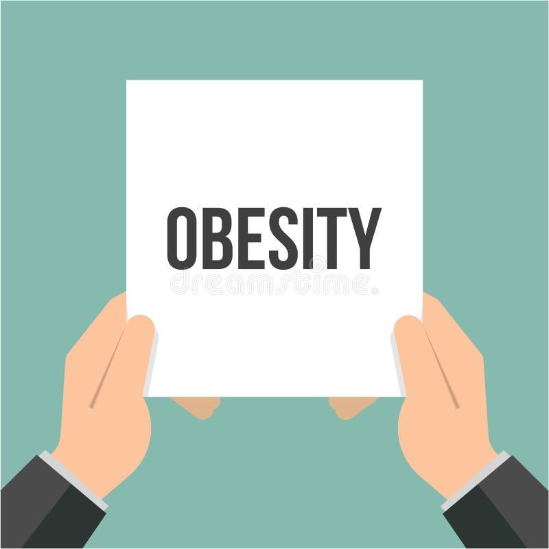 显示纸肥胖病文本的人 库存例证