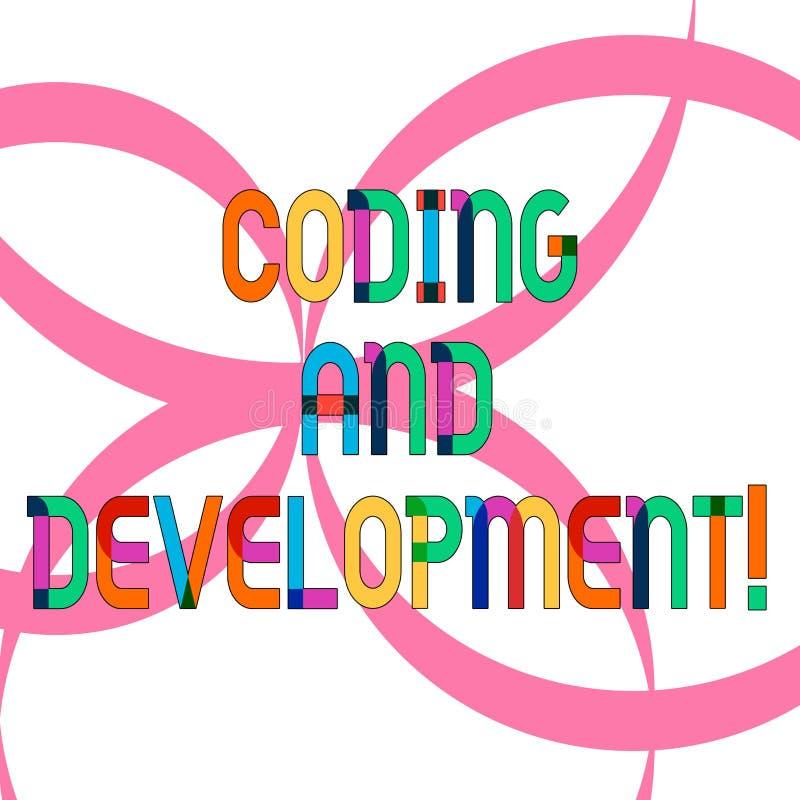 显示编制程序和发展的文字笔记 陈列企业的照片编程或创造软件或其中任一 皇族释放例证