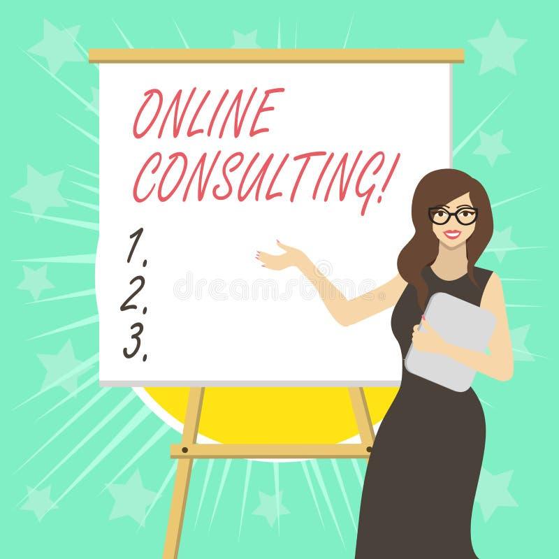 显示网上咨询的文本标志 概念性照片从一个展示的通过互联网得到信息或忠告 向量例证