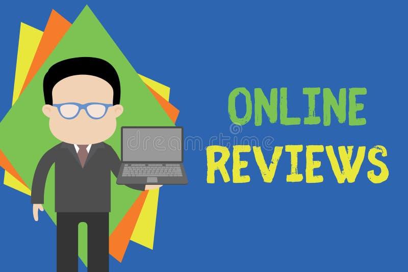 显示网上回顾的文本标志 概念性照片产品评价用户反映出版在网站身分 向量例证
