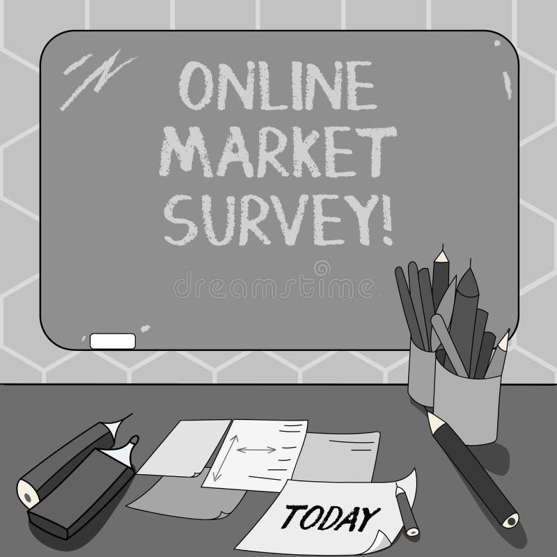 显示网上市场调查的文本标志 收集信息的概念性照片重要对登上的市场研究 库存例证