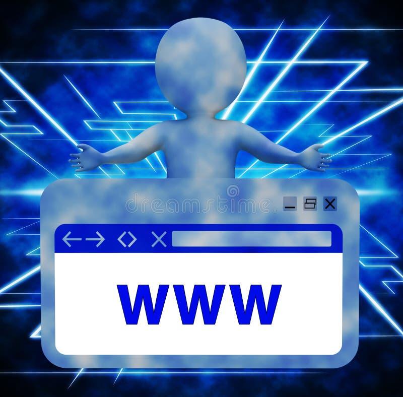 显示网上搜索3d翻译的万维网网站 皇族释放例证
