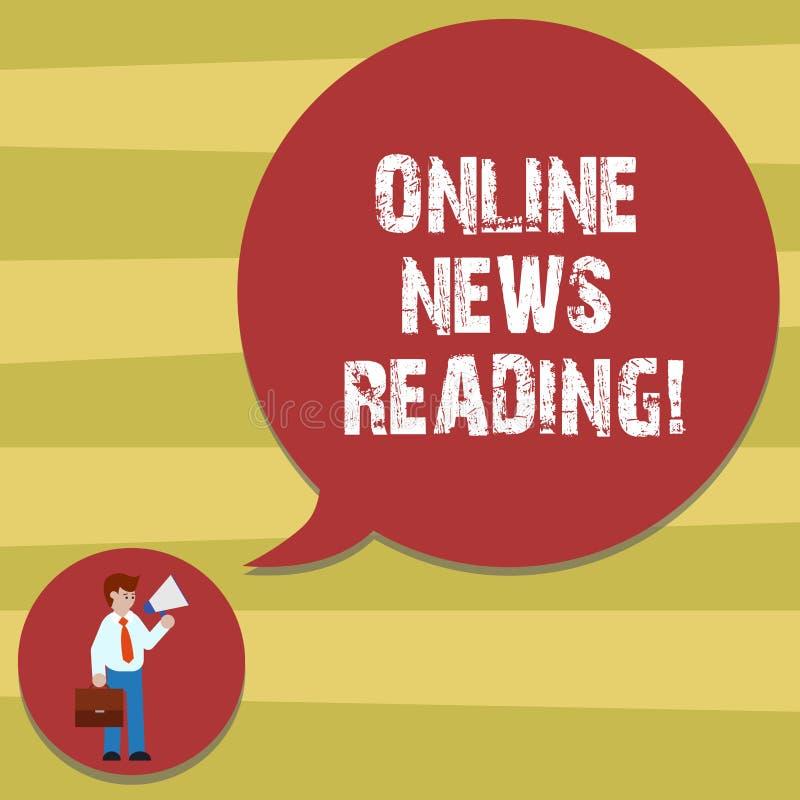 显示网上新闻读书的文本标志 使用随着时间的推移认识的互联网的概念性照片领带的时事人 库存例证