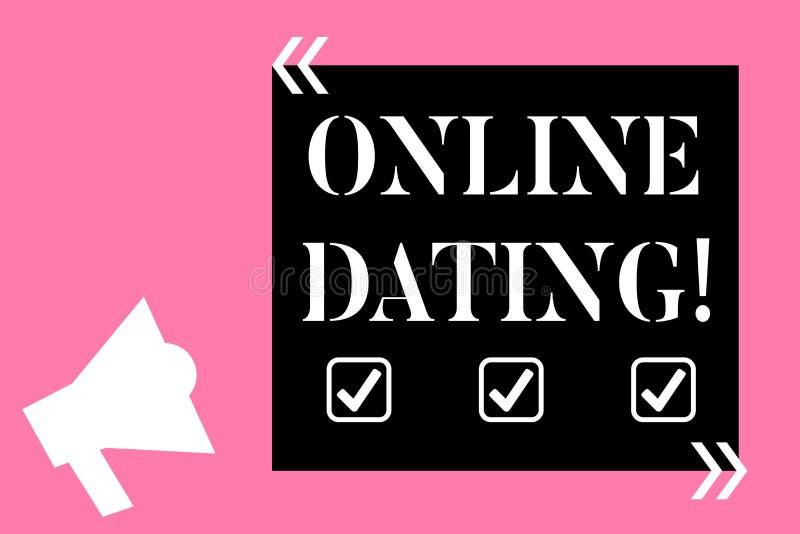 显示网上约会的文本标志 概念性照片实践搜寻在互联网上的一个roanalysistic伙伴 向量例证
