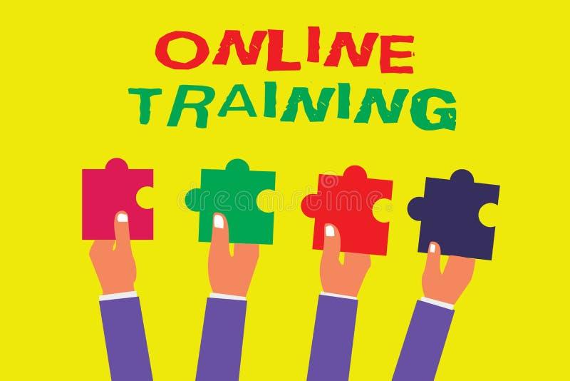 显示网上训练的概念性手文字 企业照片陈列采取从电子的教育计划意味 库存例证