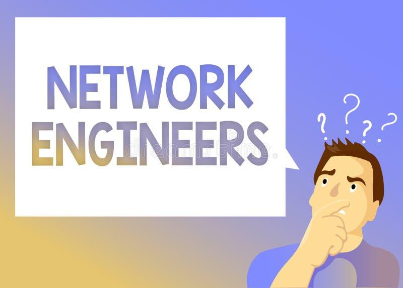 显示网络工程师的文本标志 概念性照片技术专业熟练在计算机系统 库存例证