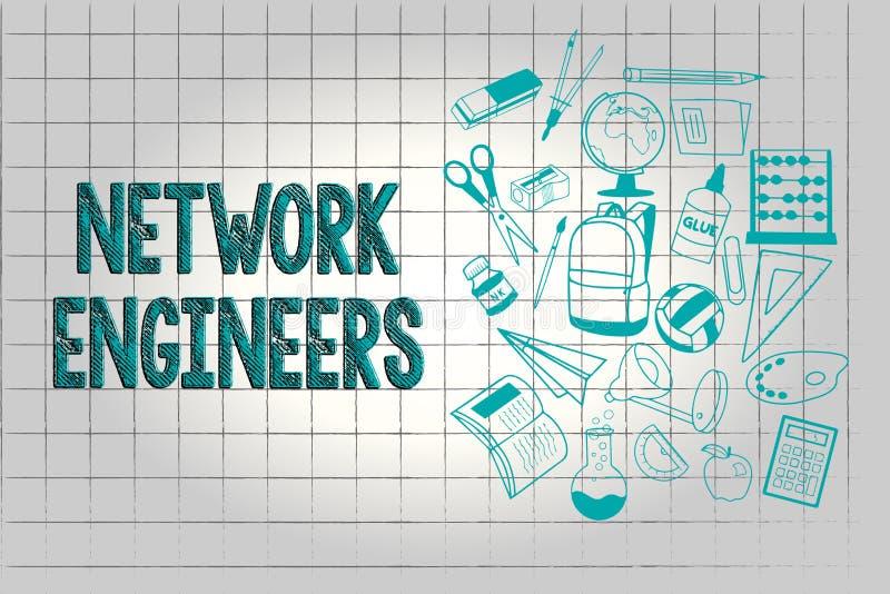 显示网络工程师的文本标志 概念性照片技术专业熟练在计算机系统 向量例证