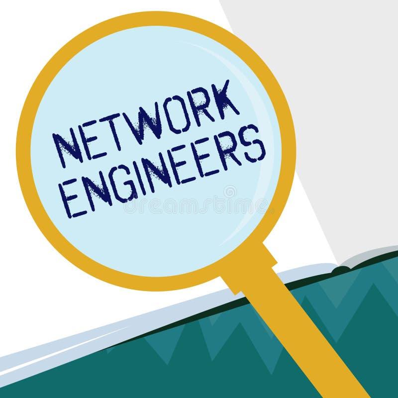 显示网络工程师的概念性手文字 陈列技术专业熟练在计算机的企业照片 库存例证