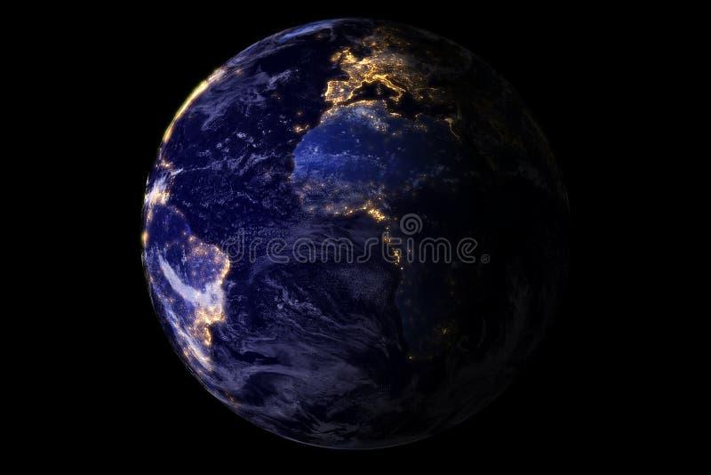 从显示美国和非洲的空间的蓝色行星地球在与闪闪发光闪烁城市光,美国,在bl隔绝的地球世界的晚上 向量例证