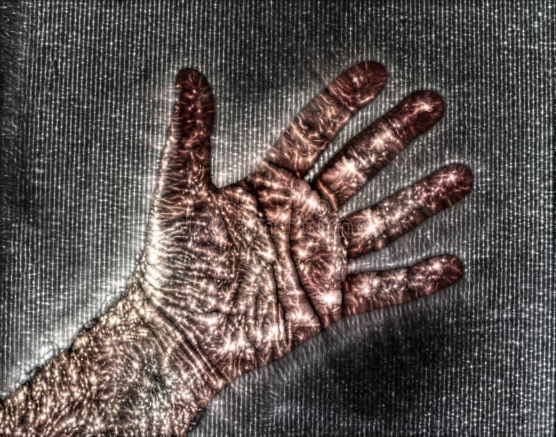 显示美好的发光的能量的一只男性人的手的Kirlian冠状气氛摄影 向量例证