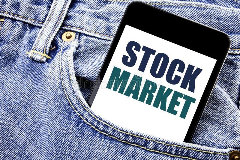显示股市的概念性手文字文本说明启发 股票交换书面电话的mo企业概念 库存照片