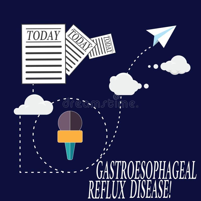 显示胃食管逆流疾病的文本标志 概念性照片消化混乱燃烧的胸口痛信息 库存例证