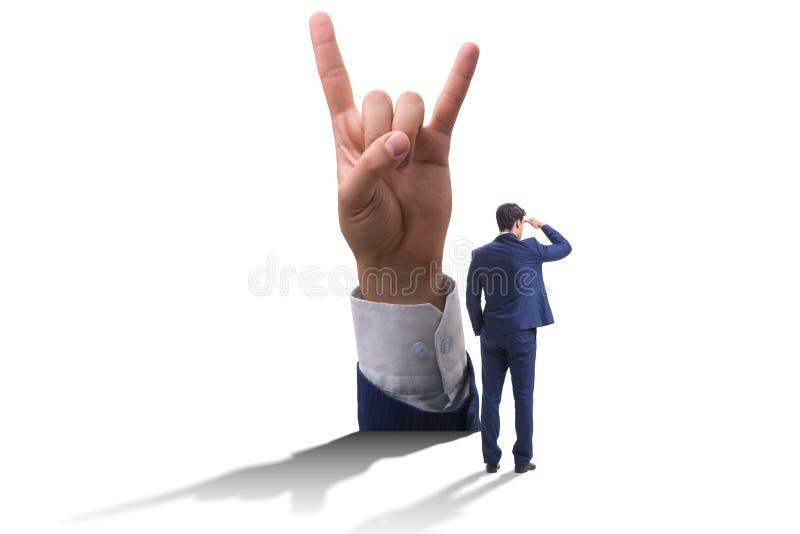 显示胜利的手签到企业概念 向量例证