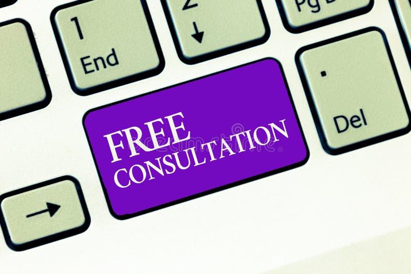 显示自由咨询的概念性手文字 企业给医疗和法律讨论的照片文本,不用薪水 库存图片