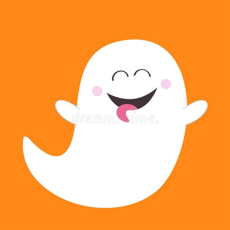 显示舌头的鬼魂精神 笨蛋 愉快的万圣节 可怕白色鬼魂 逗人喜爱的动画片鬼的字符 微笑的面孔,手 橙色 皇族释放例证