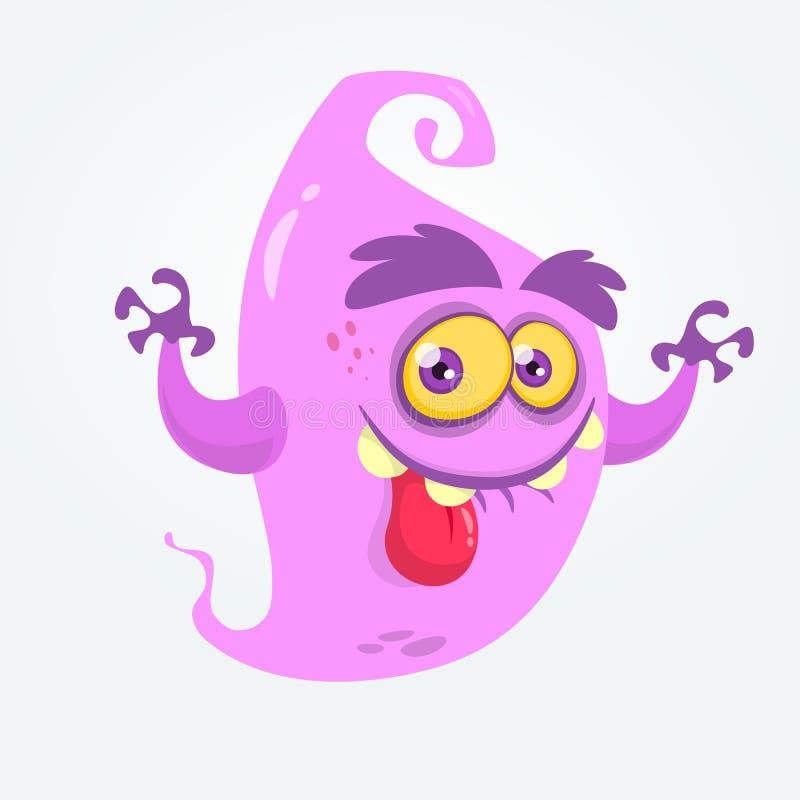 显示舌头和摇手的滑稽的动画片鬼魂 万圣夜传染媒介妖怪例证 皇族释放例证