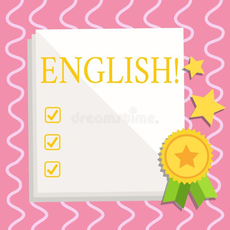 显示英语的文本标志 E 皇族释放例证