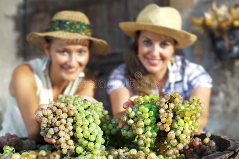 显示葡萄的愉快的妇女 免版税库存照片