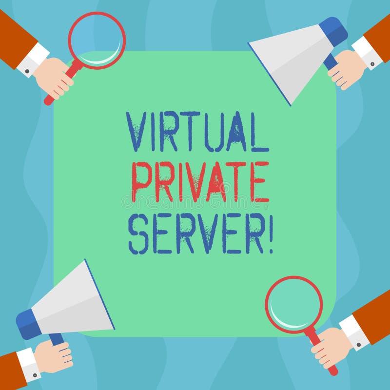 显示虚拟主机的概念性手文字 企业作为服务销售的照片文本通过互联网主持 皇族释放例证