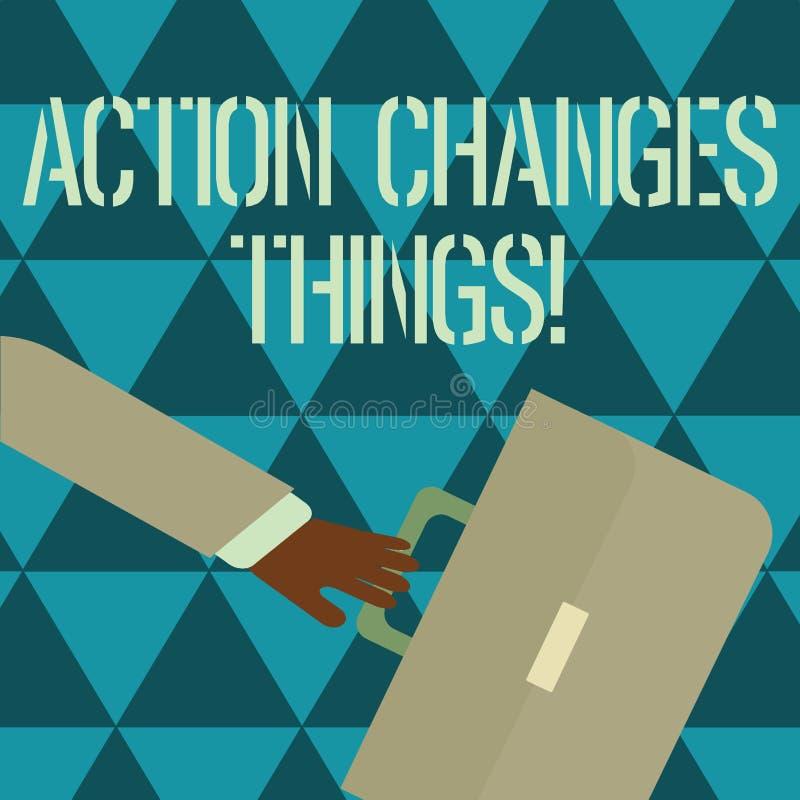 显示行动的文本标志改变事 做某事的概念性照片开始反对问题决心或达到它 向量例证