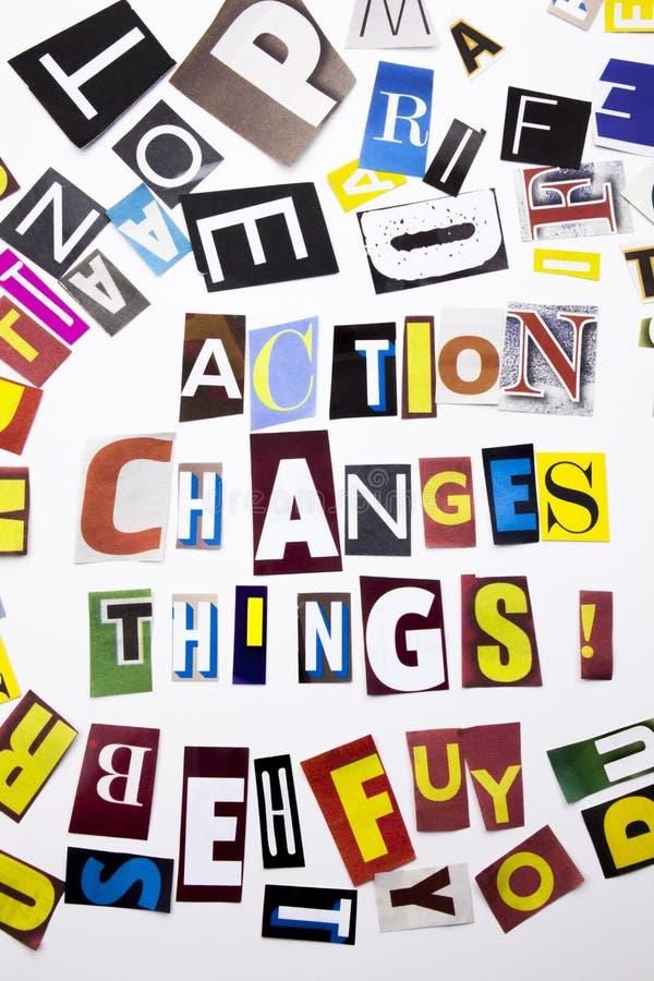 显示行动的概念词文字文本改变事由企业案件的另外杂志报纸信件制成在 免版税图库摄影