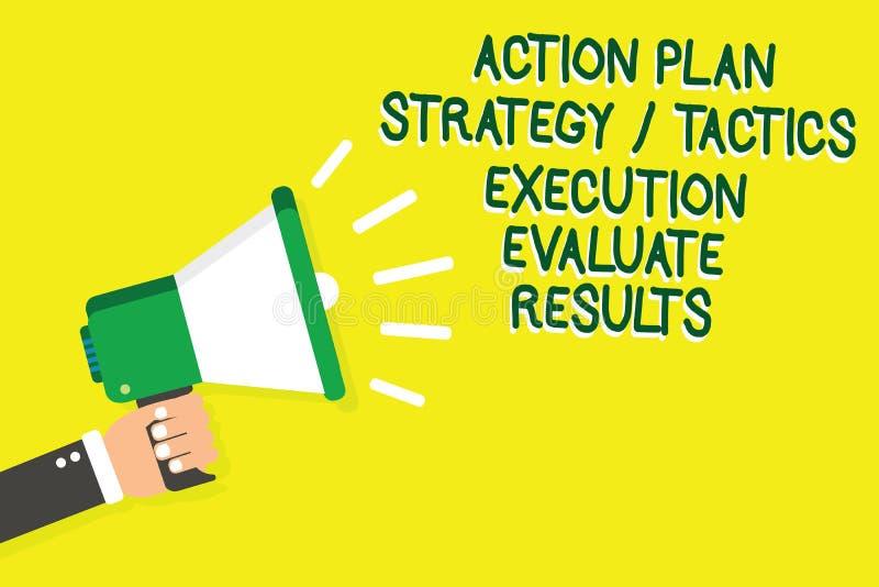 显示行动纲领战略战术施行的文字笔记评估结果 企业照片陈列的管理反馈人ho 向量例证