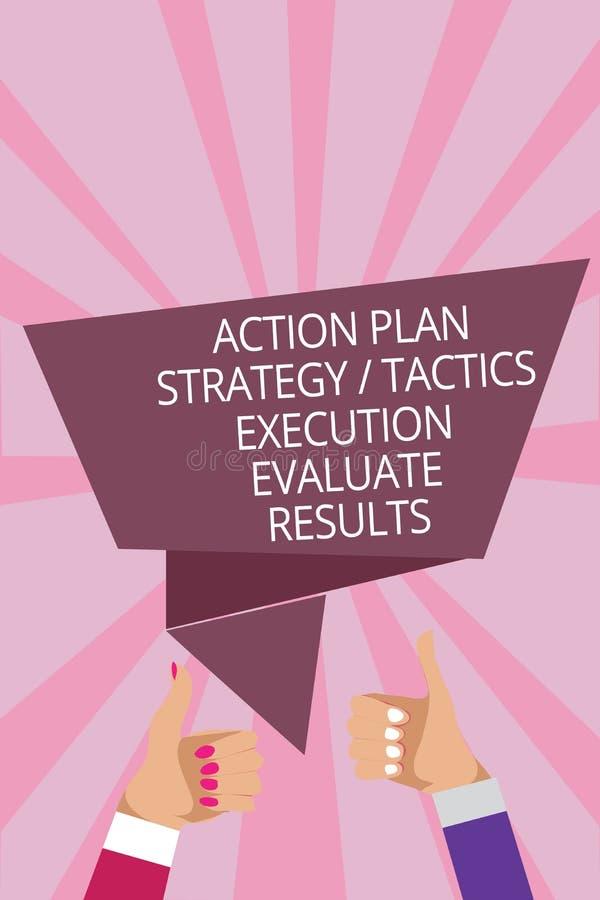 显示行动纲领战略战术施行的文本标志评估结果 概念性照片管理反馈人妇女递Th 库存例证