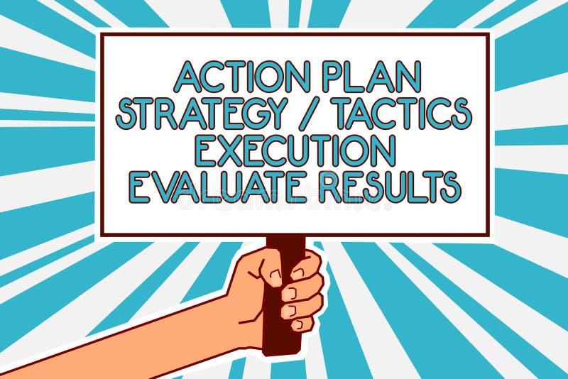 显示行动纲领战略战术施行的概念性手文字评估结果 企业照片文本管理反馈M 库存例证