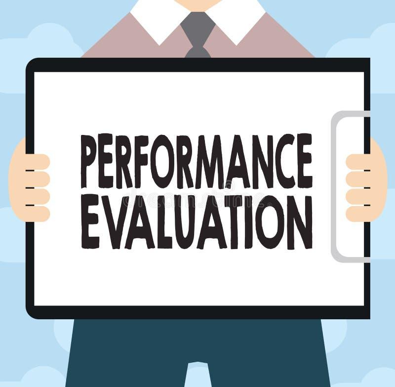 显示表现评估的文本标志 概念性照片评估雇员表现整体贡献 向量例证