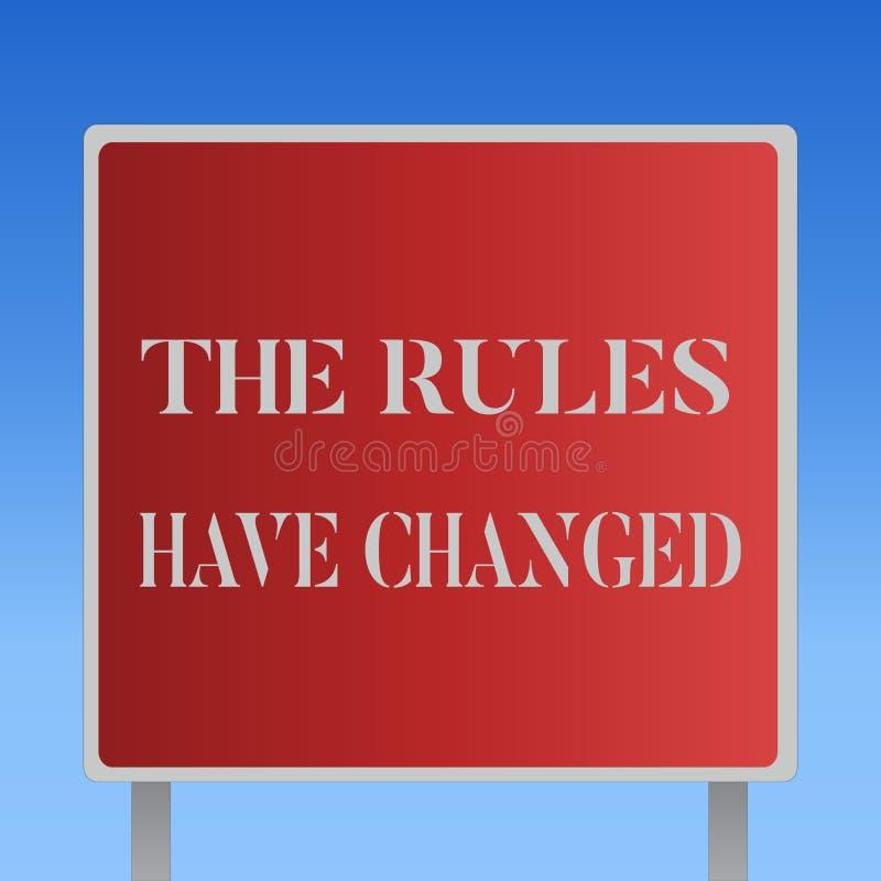 显示规则的文字笔记改变了 陈列协议或政策的企业照片有新的套命令 向量例证