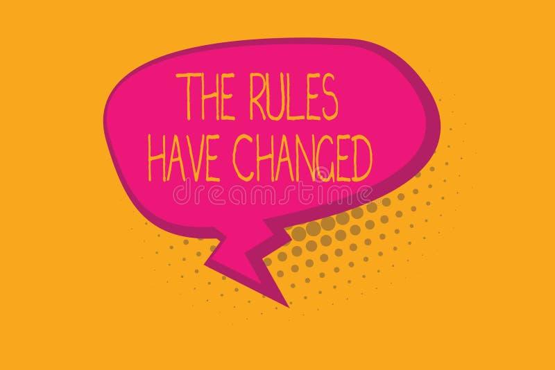 显示规则的文本标志改变了 概念性照片协议或政策有新的套命令 向量例证