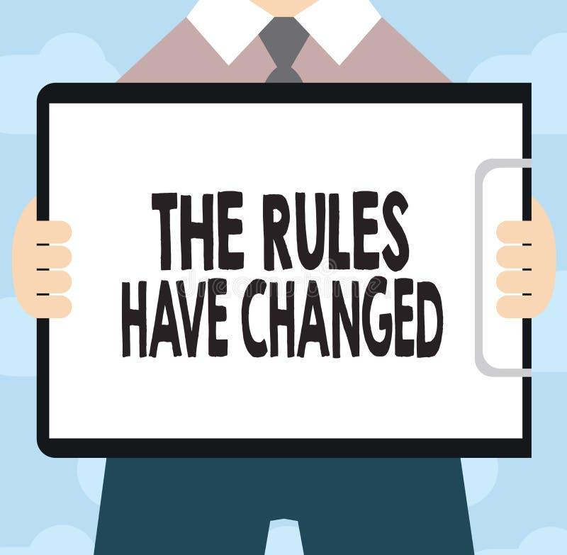 显示规则的文本标志改变了 概念性照片协议或政策有新的套命令 库存例证