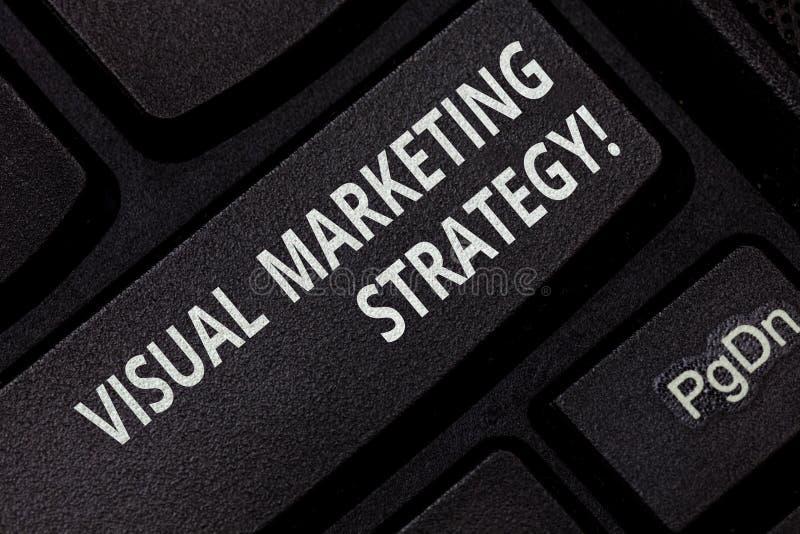 显示视觉营销策略的文本标志 概念性照片连接的销售的消息到图象键盘键里 库存照片