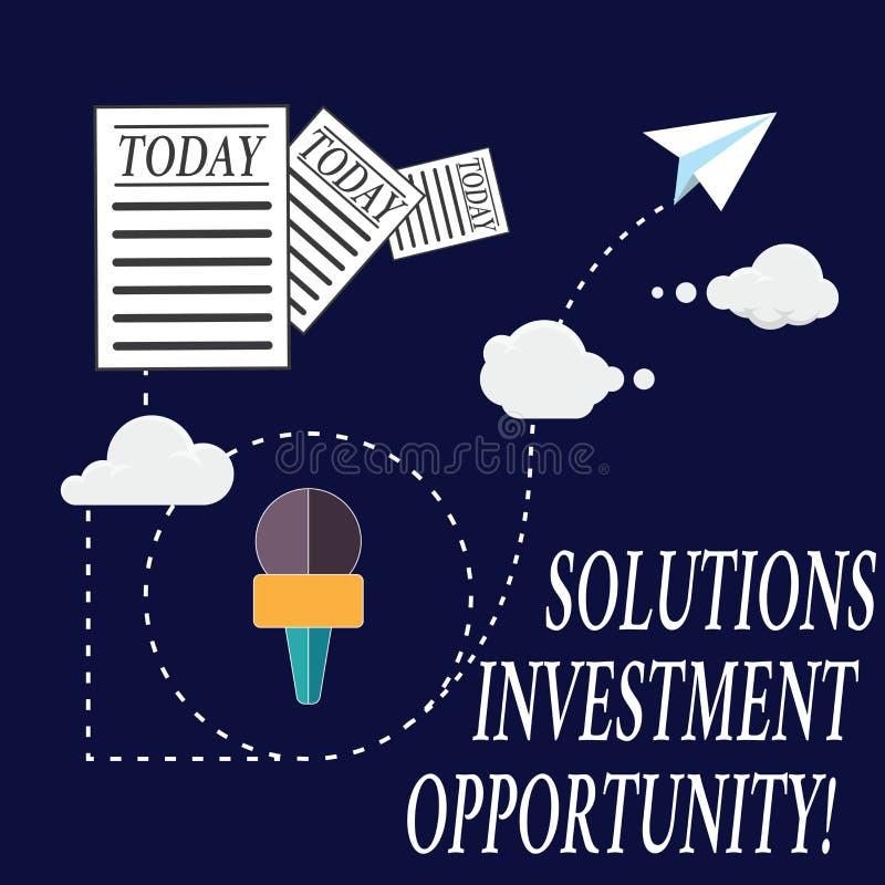 显示解答投资机会的文本标志 在承担企业信息前的概念性照片战略和 免版税库存图片