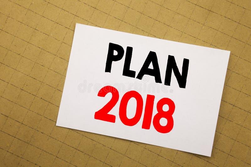 显示计划的概念性手文字文本说明启发2018年 书面的计划的战略行动纲领的企业概念  皇族释放例证