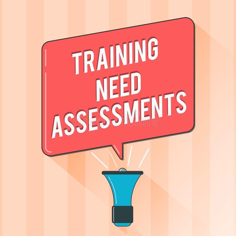显示训练需要评估的文本标志 概念性照片确定锻炼要求填补空白 向量例证